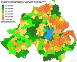 Distribution of majority Protestant (orange) and majority Catholic areas in Northern Ireland, 2001.